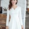 ชุดเดรสทำงานสวยๆ สีขาว ชุดแซกกระโปรงสั้น คอกลม แขนยาว เนื้อผ้าดี ,S M L XL