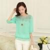 เสื้อแฟชั่นเกาหลี เสื้อทำงาน สีเขียว ผ้าชีฟอง แต่งลายลูกไม้ แขนสามส่วน ( M ,L,XL,XXL )