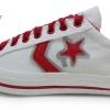 [พร้อมส่ง]รองเท้าผ้าใบแฟชั่น สีครีม ดาวแดง รุ่นวันดาว