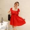ชุดเดรสสั้นสีแดง เปิดไหล แต่งระบายน่ารักๆ ผ้าชีฟอง