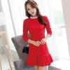 ชุดเดรสทำงานสีแดง แขนยาวคอเต่า ช่วงคอเย็บผ้าสีขาว กระโปรงเย็บระบาย สวยหวาน