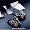 รองเท้าแฟชั่นผู้หญิง ส้นแบนหัวแหลมติดเพชรหนังแก้ว สีดำ ไซส์ 38