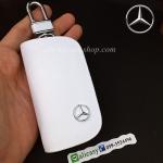กระเป๋าซองหนังแท้ ใส่กุญแจรีโมทรถยนต์ รุ่นซิบรอบ โลโก้ Mercedes Benz หนัง Cowhide