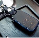 ซองหนังแท้ กุญแจรีโมทรถยนต์ HONDA HR-V,CR-V,BR-V,JAZZ Smart Key 2 ปุ่ม สีดำ/ด้ายฟ้า