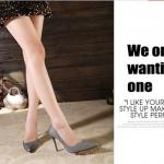 รองเท้าแฟชั่น ส้นสูงหัวแหลม หนังกากเพรช สีเงิน ไซส์ 35 - 39