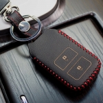 ซองหนังแท้ กุญแจรีโมทรถยนต์ HONDA HR-V,CR-V,BR-V,JAZZ Smart Key 2 ปุ่ม สีดำ/ด้ายแดง