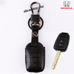 ซองหนังแท้ กุญแจใส่รีโมทรถยนต์ Honda City, All New Jazz 2014 แบบหนังสี รุ่น 2 ปุ่ม (สีดำ)