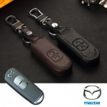 ซองหนังแท้ ใส่กุญแจรีโมทรถยนต์ รุ่นหนัง Hi-end Mazda 2,3/CX-3,5 Smart Key 2 ปุ่ม