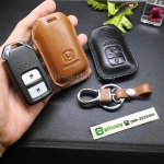 ซองหนังแท้ใส่กุญแจรีโมทรถยนต์ Honda HONDA HR-V,CR-V,BR-V,JAZZ Smart Key 2 ปุ่ม รุ่นหนังเรียบ