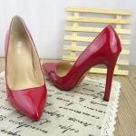 รองเท้า ส้นสูงหัวแหลม หนังแก้ว สไตส์เกาหลี แบบใหม่ สีแดง (Pre)