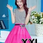 ชุดออกงานแฟชั่นเกาหลีสวยๆ มินิเดรสกระโปรงสั้น สีชมพูสดใส สามารถใส่ไปงานแต่งงาน ทำงานออฟฟิศ จะทำให้คุณกลายเป็นสาวหวาน น่ารัก ( size XXL )