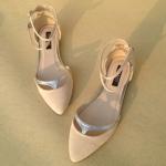 รองเท้า ส้นแบน หัวแหลม Zara แบบใหม่ สไตส์เกาหลี สีเบจ (Pre)