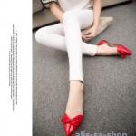 รองเท้า ส้นแบนส้นเตี้ยหัวแหลมหนังแก้ว สีแดง ไซส์ 35-39 (Pre)