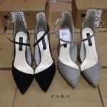 รองเท้า Zara ส้นสูง หัวแหลม แบบใหม่ สไตส์เกาหลี สี ดำ (Pre)