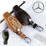 ซองหนังแท้ ใส่กุญแจรีโมทรถยนต์ รุ่นเรืองแสงตัวเต็ม Mercedes Benz