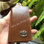 กระเป๋าซองหนังแท้ ใส่กุญแจรถยนต์ โลโก้ TOYOTA หนังลายไม้ สีน้ำตาล