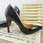 รองเท้า ส้นสูงหัวแหลม หนังแก้ว สไตส์เกาหลี แบบใหม่ สีดำ (Pre)