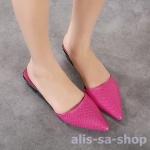 รองเท้าส้นแบนส้นเตี้ยแฟชั่น หัวแหลม สีชมพู ไซส์ 37 (Pre)