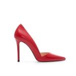 """รองเท้าส้นสูง ส้นแหลม หนังเรียบ สไตล์เกาหลี """"ทรง ZARA"""" สี แดง - ดำ (Pre)"""