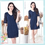 Navy V-neck Lace Dress