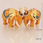 ของที่ระลึก ช้างคู่ใหญ่ พร้อมกล่องผ้าไหม ขนาดกว้าง 5 นิ้ว สูง 3.5 นิ้ว
