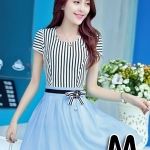 ชุดออกงานแฟชั่นเกาหลีสวยๆ มินิเดรสกระโปรงสั้น สีฟ้า สามารถใส่ไปงานแต่งงาน ทำงานออฟฟิศ จะทำให้คุณกลายเป็นสาวหวาน น่ารัก สดใส