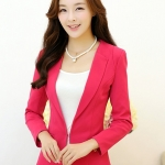 เสื้อสูททำงานผู้หญิง สีชมพู แขนยาว คอปก เอวเข้ารูป ,