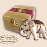 ของที่ระลึกช้างเบญจรงค์ (เล็ก) พร้อมกล่องผ้าไหม