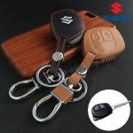 ซองหนังแท้ ใส่กุญแจรีโมทรถยนต์ รุ่นดอกกุญแจโลโก้เหล็ก Suzuki Swift,Ciaz แบบใหม่