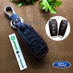 ซองหนังแท้ ใส่กุญแจรีโมทรถยนต์ All New Ford Ranger,Everest 2015-18 โลโก้ป้ายเงิน พับข้าง สีดำ