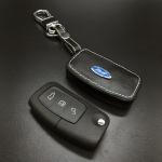 ซองหนังแท้ใส่กุญแจรีโมทรถยนต์ Ford Fiesta - Focus แบบพับข้าง โลโก้ฟ้า 3 ปุ่ม
