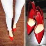 """รองเท้าส้นสูง ส้นแหลม หนังเรียบ สไตล์เกาหลี """" ZARA"""" สีแดง และ สีดำ (Pre)"""