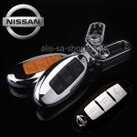 NEW กรอบ_เคส ใส่กุญแจรีโมทรถยนต์ รุ่นโคเมียม Nissan March,X-Trail,Navara,Juke,Pulsar Smart Key 3 ปุ่ม