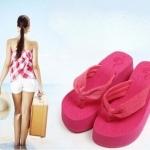 แฟชั่นรองเท้าแตะ ผู้หญิง ส้นหนา สไตล์เกาหลี สี ฟ้า-ชมพู ไซส์ 36-37-38