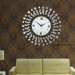 นาฬิกาแขวนผนัง - ประดับด้วยคริสตัล สวยหรู สไตล์ยุโรป สีเงิน (Pre)