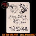 แผ่นหนังเทียมแบบบางลายดอกบัว สำหรับซ้อมลงเส้น/ลงสี/ลงเงา แผ่นยางฝึกหัดสัก เรียนสักลาย Lotus Flower Pattern Synthetic Tattoo Practice Skin