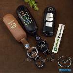 ซองหนังแท้ ใส่กุญแจรีโมทรถยนต์ รุ่นเรืองแสง Mazda 2,3 Smart Key 3 ปุ่ม