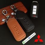 กระเป๋า,ซองหนังแท้ ใส่กุญแจรีโมทรถยนต์ Mitsubishi Mirage,Attrage,Triton,Pajero รุ่นซิบรอบ (แบบใหม่)