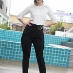 กางเกงเอวสูงขายาว Style Valentinoสีดำ