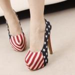รองเท้า ส้นสูง สไตส์เกาหลี ลายสหรัฐ ไซส์ 38