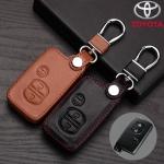ซองหนังแท้ ใส่กุญแจรีโมทรถยนต์ Toyota Prius,Camry Keyless รุ่น 3 ปุ่มกด