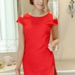 ชุดเดรสสั้นสีแดง เข้ารูป เว้าไหล่ แฟชั่นสไตล์เกาหลี สวย สดใส