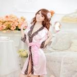 เซ็กซี่ชุดชั้นในลูกไม้ Robe ชุดนอน Nightgown + G-String ชมพูอ่อน