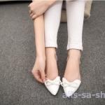 รองเท้า ส้นแบนส้นเตี้ยหัวแหลมหนังแก้ว สีขาว ไซส์ 35-39 (Pre)