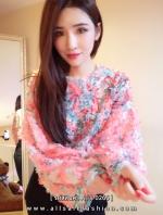เสื้อแขนยาวสีชมพูลายดอกไม้ฟู่ๆ ทรงปล่อย สวยเก๋ ไม่เหมือนใคร