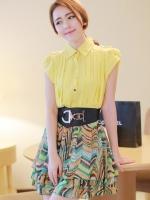 ชุดเดรสสั้นสีเหลือง เดรสกระโปรงสั้นพิมพ์ลายกราฟฟิค คอเชิ้ต แขนกุด เป็นชุดเดรสหวานน่ารัก สไตล์แฟชั่นเกาหลี ใส่ทำงาน ใส่เที่ยวช้อปปิ้ง ( M,L,XL )