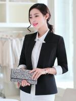 เสื้อสูททำงานผู้หญิงสีดำ แขนยาว ปลายแขนแถบสีขาว ทรงสวย ลุคเรียบๆ สวย ดูดี เรียบร้อย
