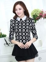 เสื้อทำงานสวยๆแฟชั่นเกาหลี เสื้อเชิ้ตสีดำ ลายดอกไม้ แขนยาว ปลายเสื้อแต่งระบาย ผ้าโพลีเอสเตอร์, S M L