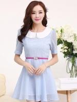 ชุดทำงานแฟชั่นเกาหลี มินิเดรสสวยๆ ชุดประโปรงสั้น คอปก แขนสั้น ผ้า organza สีฟ้า ( S M L XL )