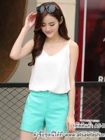 เสื้อสายเดี่ยวสีขาว สวยๆ แฟชั่นสไตล์เกาหลี